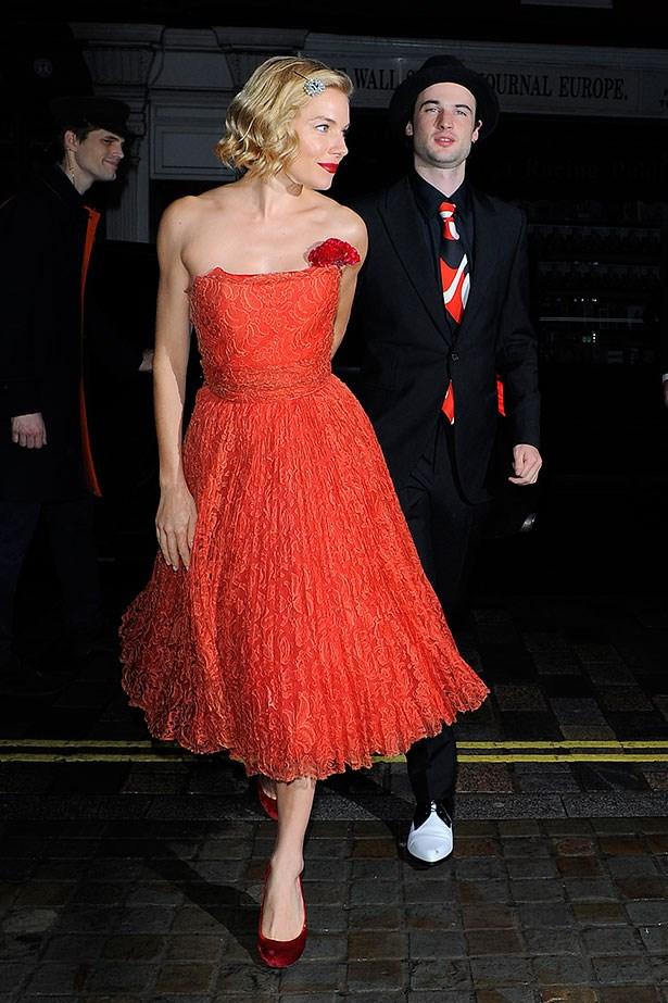With fiancé Tom Sturridge in London