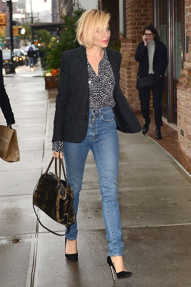 Wearing blue jeans and blazer in New York City
