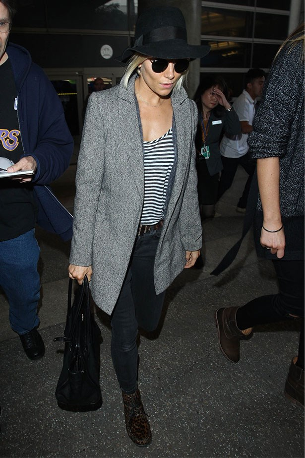 Spotted in LA in signature stripes and sunglasses
