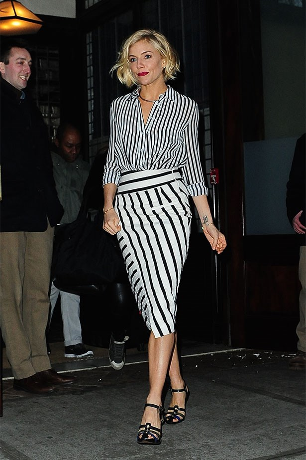 Seen at The Daily Show in stripe-on-stripe