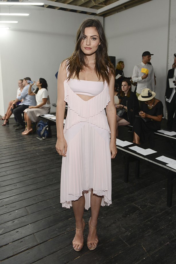 Phoebe Tonkin supports Dion Lee at the Mercedes-Benz Fashion Week 2014.