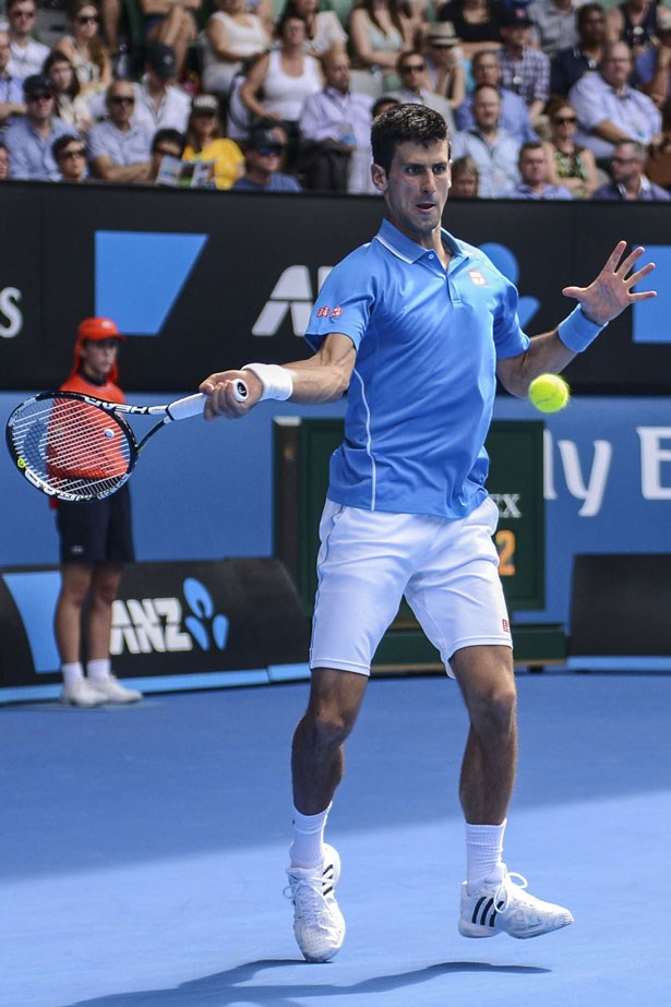 Novak Djokovic is also kitted out in something less mainstream, Japanese icon uniqlo.