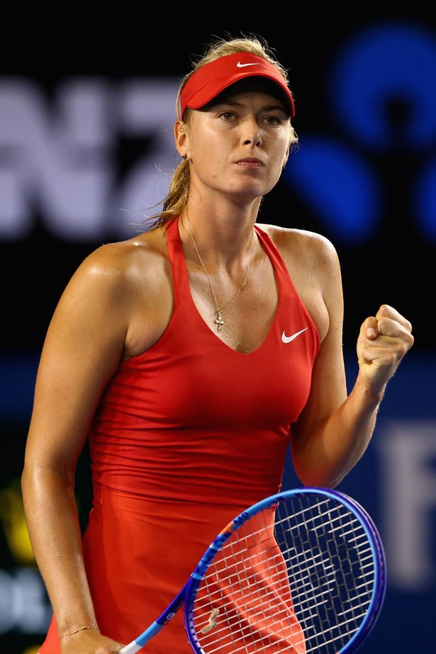 "Maria Sharapova wears her <a href=""http://www.elle.com.au/news/fashion-news/2015/1/maria-sharapova-says-the-fashion-stakes-are-high-ahead-of-the-australian-open/"">own collection</a> for Nike, which she helped design."