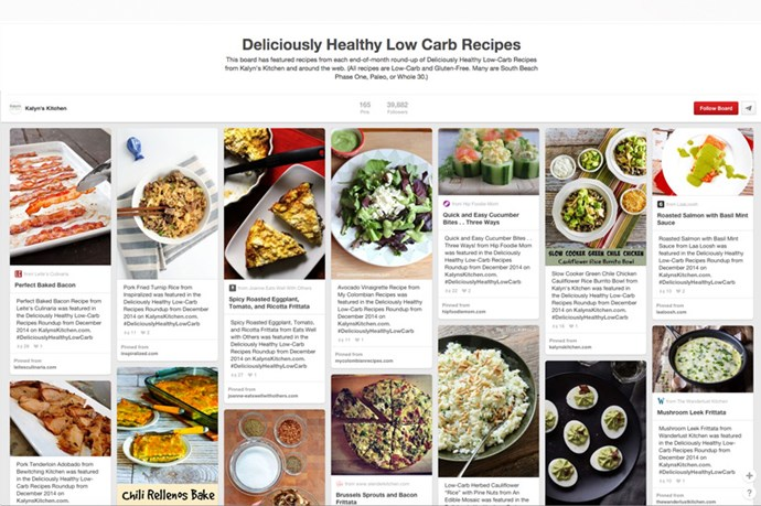 "<strong><a href=""http://www.pinterest.com/kalynskitchen/deliciously-healthy-low-carb-recipes/"">Deliciously Healthy Low Carb Recipes by Kalyn's Kitchen</a></strong><br><br> Featuring some of the best recipies from around the net, this board is seriously a winner for low-carb followers. From Thai-inspired turkey dishes to low-carb bakes using mushroom and feta to some pretty easy vegetarian dishes. Sign us up."