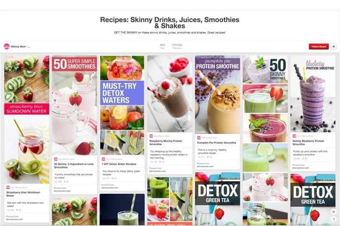 "<a href=""http://www.pinterest.com/skinnymom/recipes-skinny-drinks-juices-smoothies-shakes/"">Skinny Drinks by Skinny Mom</a> <br><br> Not just smoothies and protein shakes, this board covers all forms of beverage - from low-guilt cocktails to detox teas and so much more. We love their carrot sangria, skinny cherry martini and their round up of 50 (yes 5.0) of the best green smoothies."