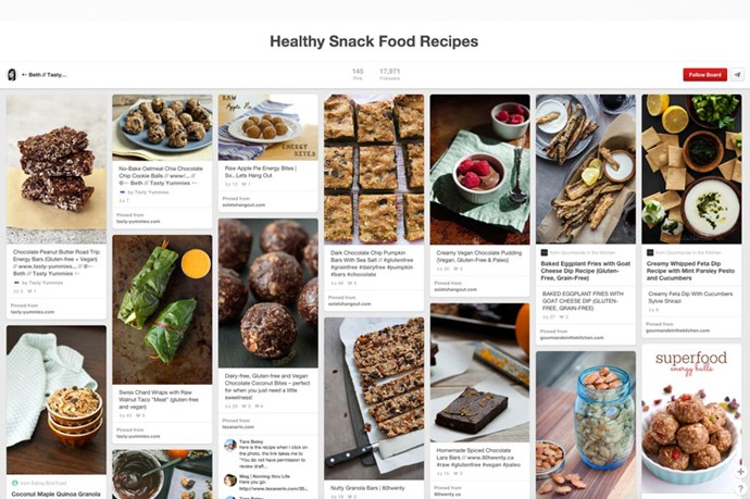 "<strong><a href=""http://www.pinterest.com/tastyyummies/healthy-snack-food-recipes/"">Healthy Snack Food Recipes by TastyYummies</a></strong><br><br> Hands up who's a snacker out there? Well this board might just been your new best friend - from guides to the best trail mixes (to make yourself) to homemade salsas, hummus, dips (hello? Pumpkin and peanut butter dip with apple slices?! YES) and DIY potato crisps, there's plenty of snackables you can make yourself and kick that 3pm convenience store habit. Also includes many vegan and gluten-free options."