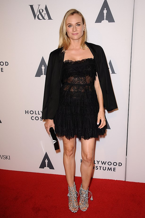 Diane Kruger wearing an Elie Saab dress and an Osman blazer at The Academy of Motion Picture Arts and Sciences' Hollywood Costume Opening Party.