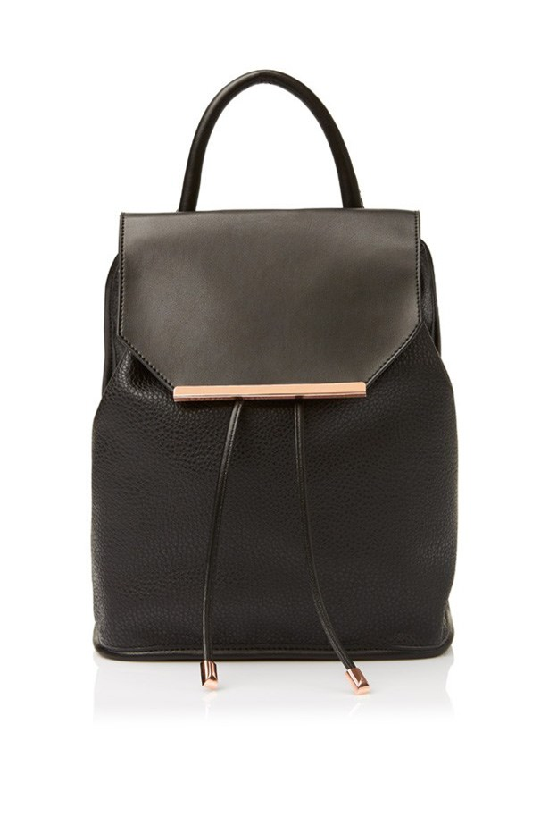 "Backpack, $59.95, Sportsgirl, <a href=""http://www.sportsgirl.com.au/accessories/bags/metal-tip-backpack-black-all"">sportsgirl.com.au</a>"