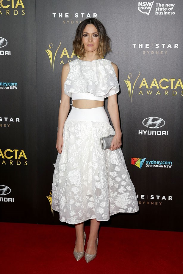 Rose Byrne wears a Toni Maticevski crop top and matching skirt.