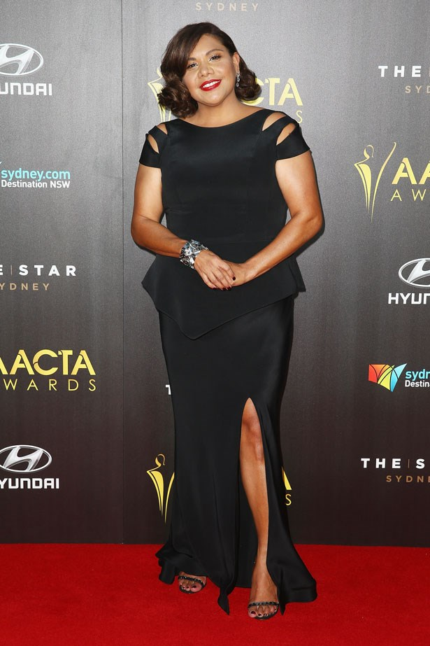Deborah Mailman was photographed in a sophisticated black dress.