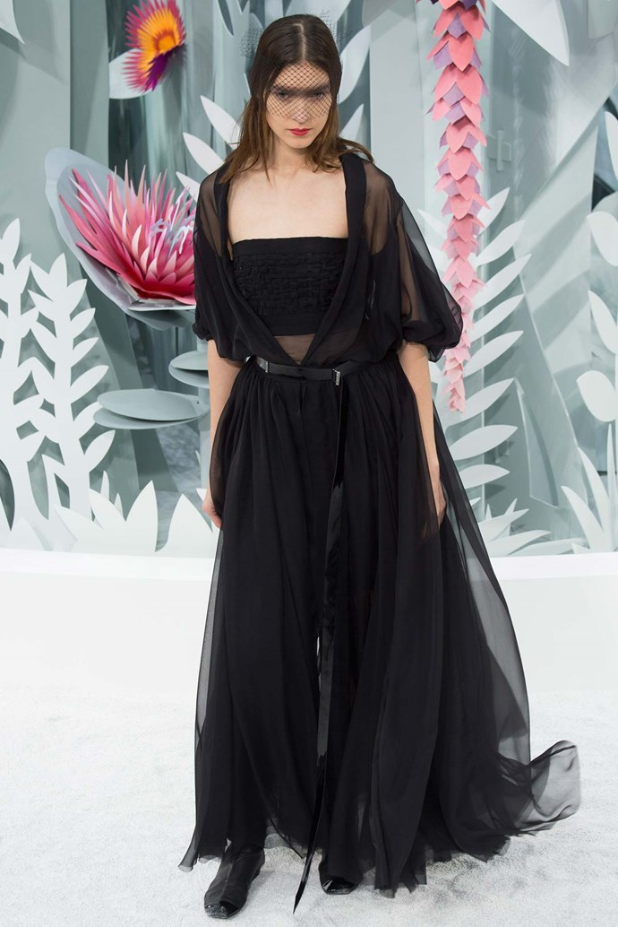 """<strong>Elle McClure, editorial coordinator</strong> <br /> <br /> """"This Chanel couture look has the fluidity and laissez-faire attitude of the life I wish I had, while the colour is on par with the life I really have. I sure hope that mesh doesn't begin to itch"""" <em>Chanel couture, spring 15</em>"""