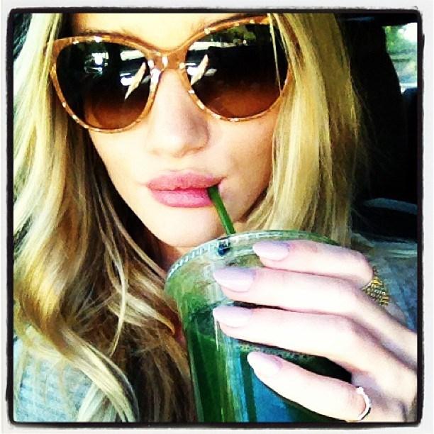 Rosie Huntington-Whiteley with Green Juice