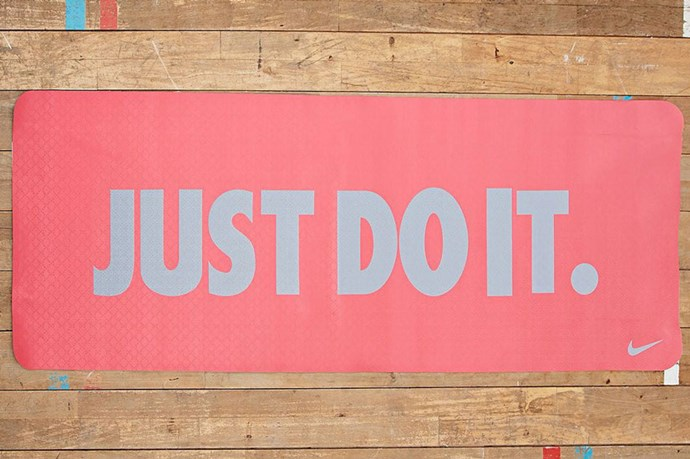 """Nike's Just Do It mat will encourage you to follow those wise words. This lightweight mat offers grip and stability, as well as a carry strap – practical and portable. <p> Just Do It Graphic 3mm Yoga Mat, $70, Nike, <a href=""""http://www.nikestore.com.au/"""">nikestore.com.au</a></p>"""