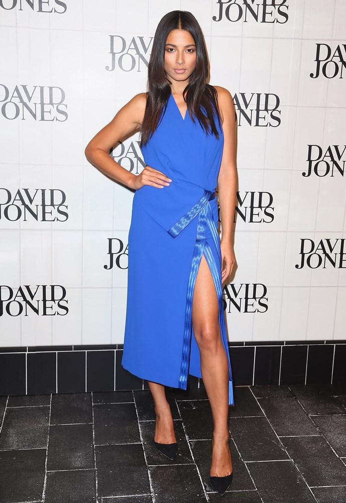 Jessica Gomes at David Jones AW14 runway show