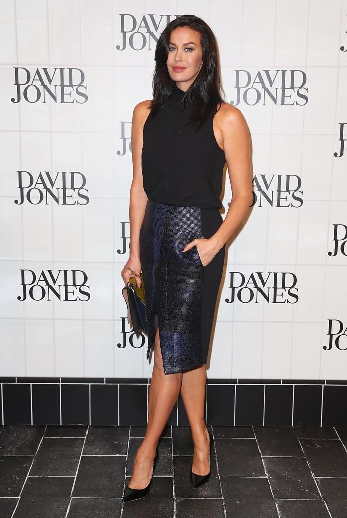 Megan Gale at David Jones' AW15 runway show in Sydney