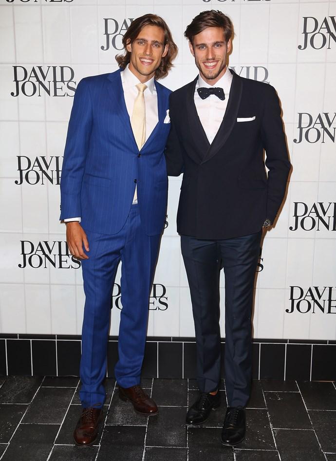 Jordan Stenmark and Zac Stenmark at the David Jones AW15 runway show in Sydney