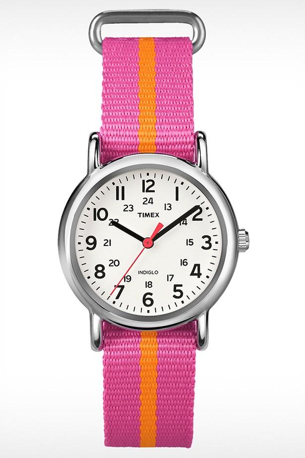 """Watch, $89, Timex, <a href=""""http://www.timex.com.au/watches/timex-weekender-slip-thru-t2p0729j """">timex.com.au</a>"""