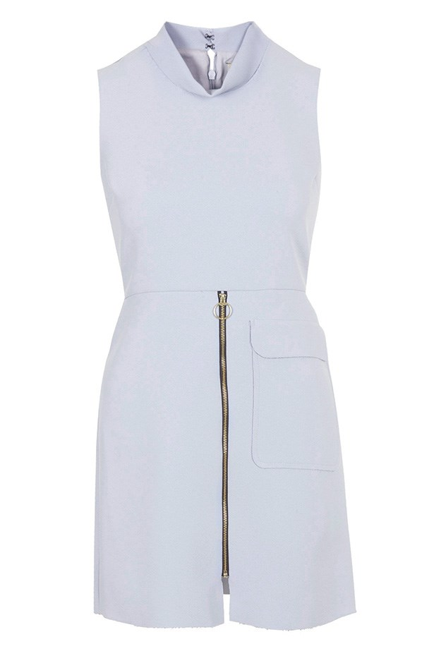 "Dress, $133, Topshop, <a href=""http://www.topshop.com/en/tsuk/product/new-in-this-week-2169932/new-in-this-week-493/raw-edge-zip-front-shift-dress-4049886?bi=401&ps=200"">topshop.com</a>"