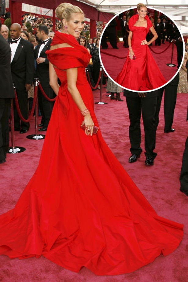 <p>HEIDI KLUM</p> <p>In Dior at the 2008 Academy Awards</p>