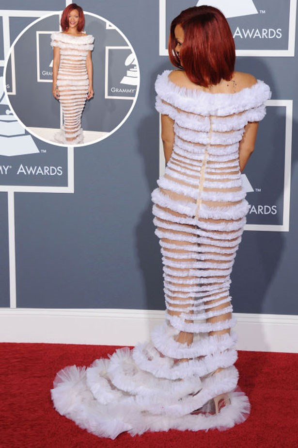 <p>RIHANNA</p> <p>In Jean Paul Gaultier at the 2011 Grammys</p>