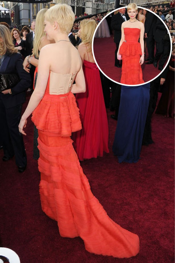 <p>MICHELLE WILLIAMS</p> <p>In Louis Vuitton at the 2012 Academy Awards</p>