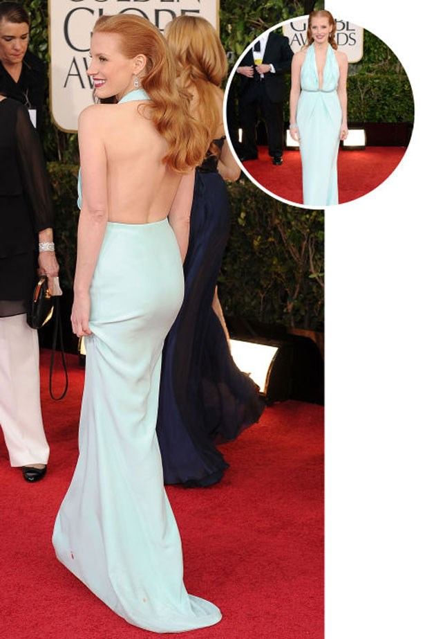 <p>JESSICA CHASTAIN</p> <p>In Calvin Klein at the 2013 Golden Globes</p>