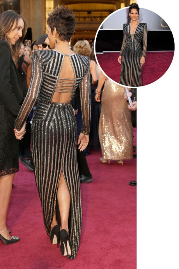 <p>HALLE BERRY</p> <p>In Atelier Versace at the 2013 Academy Awards</p>