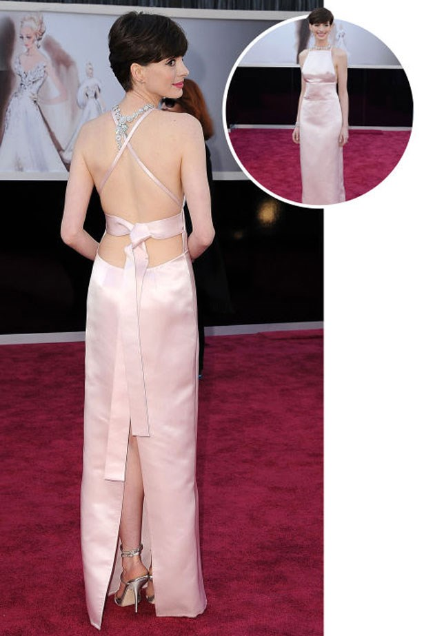 <p>ANNE HATHAWAY</p> <p>In Prada at the 2013 Academy Awards</p>
