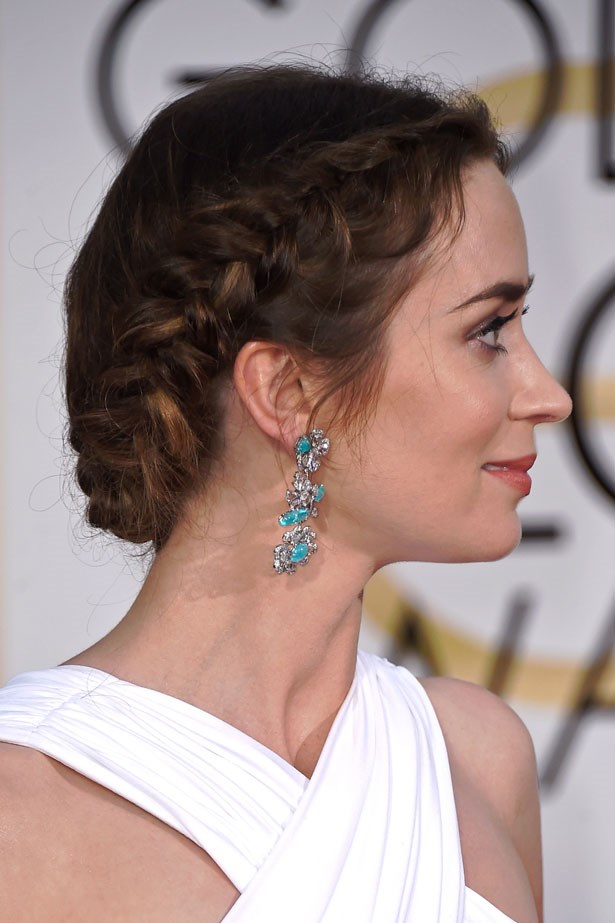 <p><strong>Emily Blunt</strong></p> <p>The actress channelled her <em> Into the Woods</em> baker's-wife character with a milkmaid braid at the Golden Globes.</p>