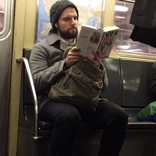 """Check out this Brooklyn-bound boss' material. Maybe he's an aspiring actor/writer/producer/director/nudist looking for tips. Doesn't matter, I love a man getting in touch with his feminine side. When will he get in touch with mine? Just kidding. #notthatkindofgirl #hotdudesreading"" - @hotdudesreading"