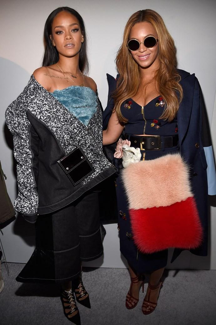 Rihanna and Beyonce at Kanye West Adidas Fashion Week Show