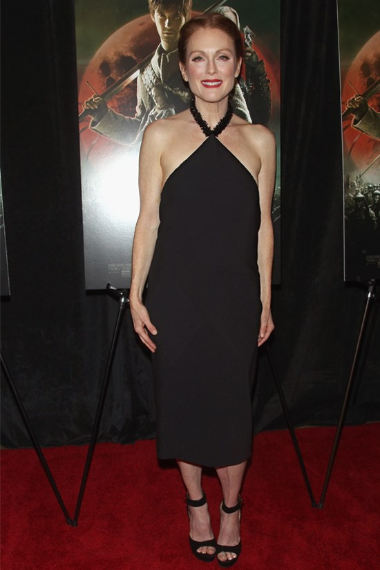 "Julianne Moore at the New York screening of ""Seventh Son"" wearing Balenciaga."
