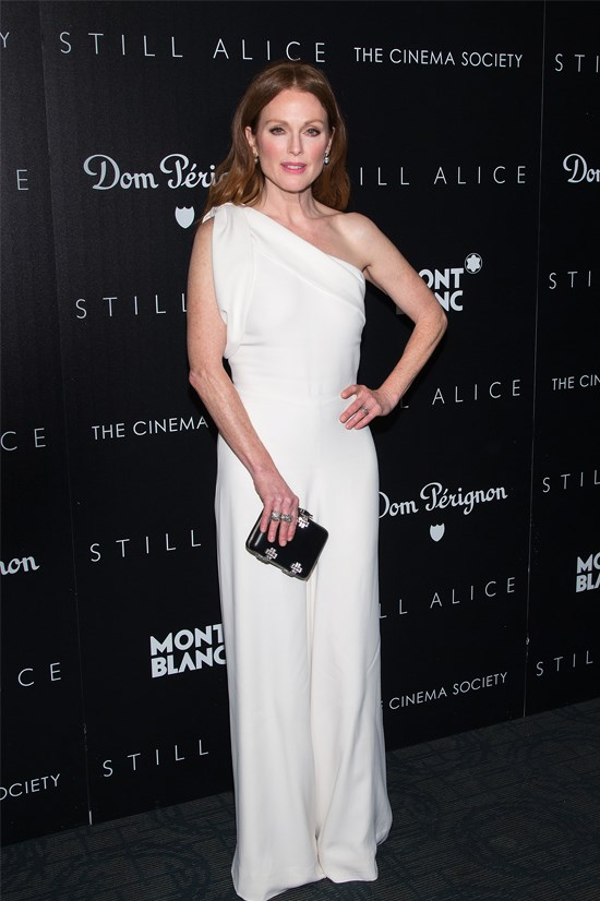 Julianne Moore at the New York screening of Still Alice wearing Alexander McQueen.