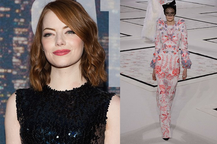 "Celebrity: Emma Stone <br> Nominated for: Best Supporting Actress, <em>Birdman</em><br> What we predict she might wear: <a href=""http://www.elle.com.au/runway/haute-couture/ss15/2015/1/giambattista-valli-haute-couture-ss15/"">Giambattista Valli Haute Couture SS15</a>"