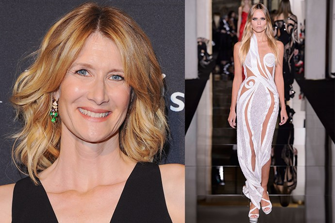 "Celebrity: Laura Dern<br> Nominated for: Best Supporting Actress, <em>Wild</em><br> What we predict she might wear: <a href=""http://www.elle.com.au/runway/haute-couture/ss15/2015/1/versace-ss15/"">Versace Haute Couture SS15</a> <br>"