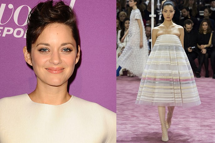 "Celebrity: Marion Cotillard<br> Nominated for: Best Actress, <em> Two Days, One Night</em><br> What we predict she might wear: <a href=""http://www.elle.com.au/runway/haute-couture/ss15/2015/1/christian-dior-haute-couture-ss15/"">Christian Dior Haute Couture SS15</a>"
