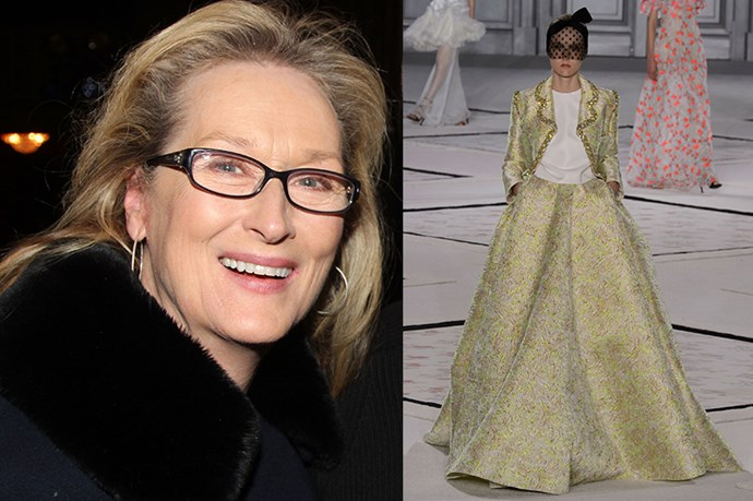 "Celebrity: Meryl Streep Nominated for: Best Actress, Into the Woods What we predict she might wear: <a href=""http://www.elle.com.au/runway/haute-couture/ss15/2015/1/giambattista-valli-haute-couture-ss15/"">Giambattista Valli Haute Couture SS15</a>"