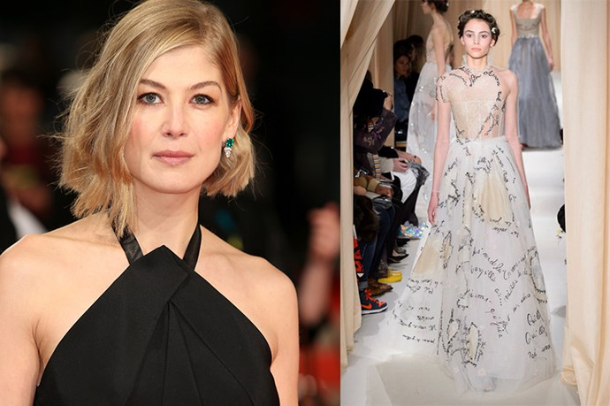 "Celebrity: Rosamund Pike Nominated for: Best Actress, Gone Girl What we predict she might wear: <a href=""http://www.elle.com.au/runway/haute-couture/ss15/2015/1/valentino-haute-couture-ss15/"">Valentino Haute Couture SS15 </a>"