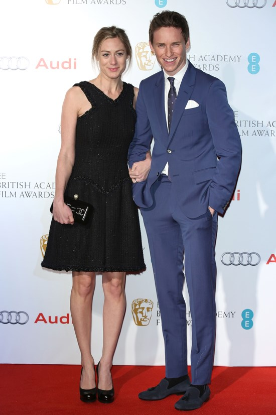 Eddie Redmayne at the British Academy Film and Television Arts Awards Nominees party with his wife Hannah Bagshawe.
