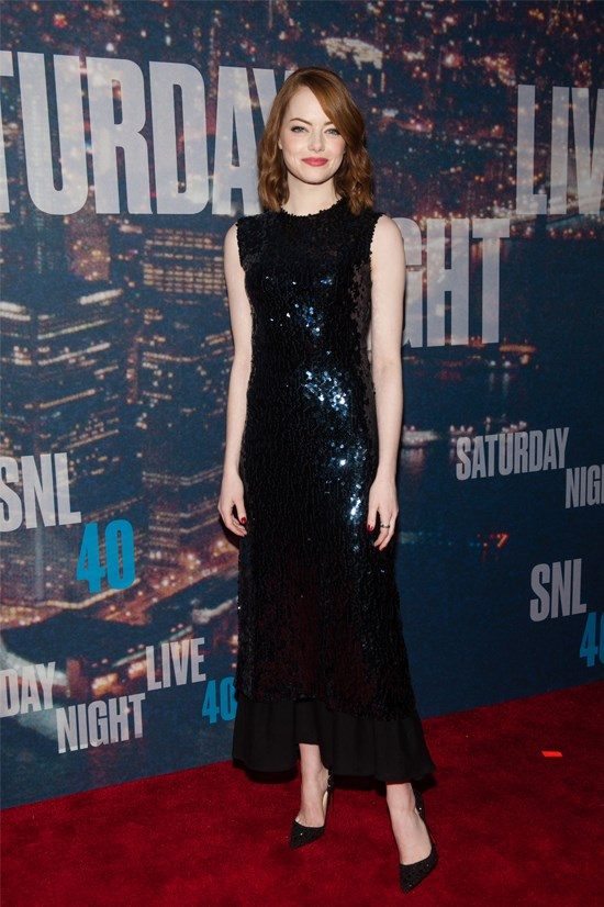 Emma Stone at the 40th anniversary celebration of Saturday Night Live wearing Christian Dior.