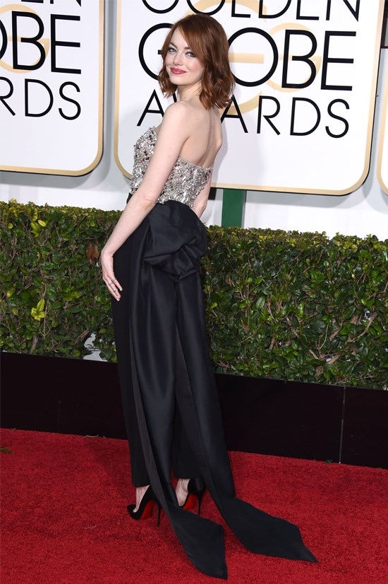 Emma Stone at the 2015 Golden Globe Awards wearing Lanvin.