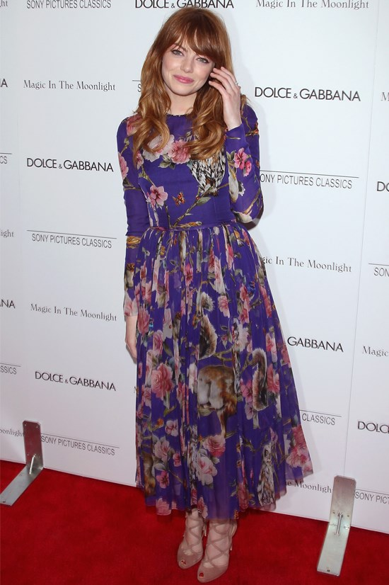 """Emma Stone at the New York premiere of """"Magic in the Moonlight"""" wearing Dolce & Gabbana."""