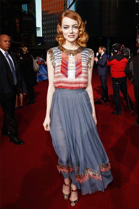 "Emma Stone at the Berlin Premiere of ""The Amazing Spider-Man 2"" wearing Chanel."
