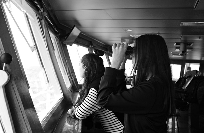 "<em>""Heading off on the National Geographic Explorer from Ushuaia, Argentina. The Captain's Bridge is not off limits and we spent hours up there watching whales and other wildlife… and staging shoots with binoculars.""</em>"