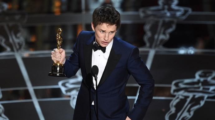 Eddie Redmayne accepting his Best Actor gong