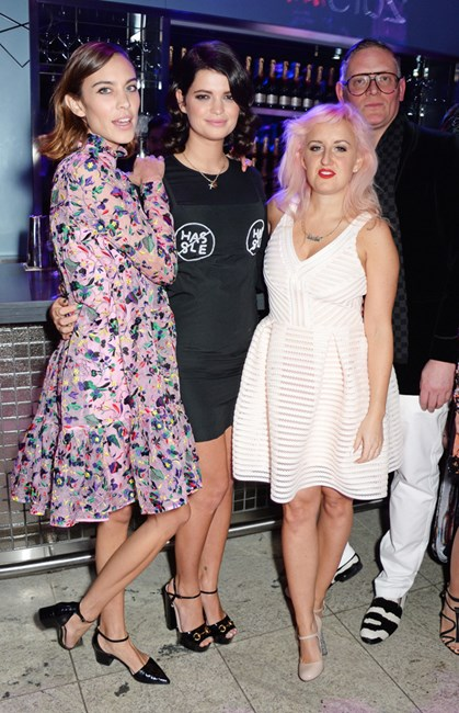 Alexa Chung, Pixie Geldof, Aimee Phillips and Giles Deacon