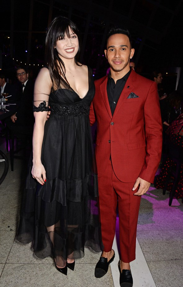 Daisy Lowe and Lewis Hamilton