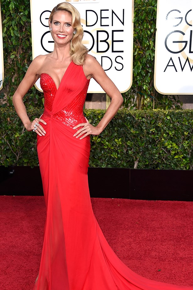 Versace: Heidi Klum at the 2015 Golden Globes
