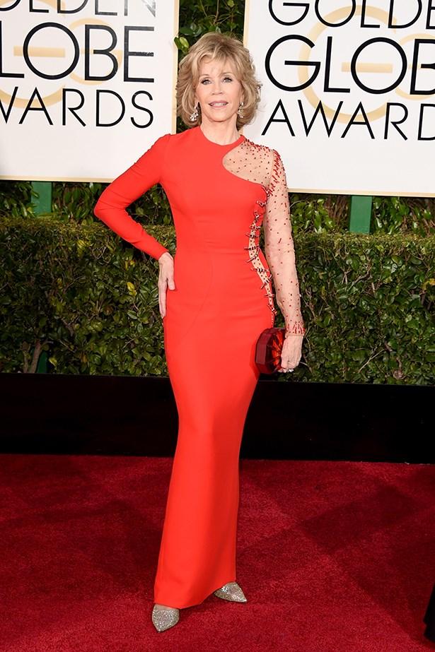 Versace: Jane Fonda at the 2015 Golden Globes