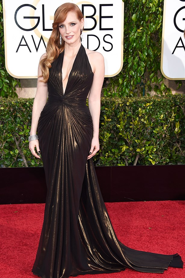 Versace: Jessica Chastain at the 2015 Golden Globes